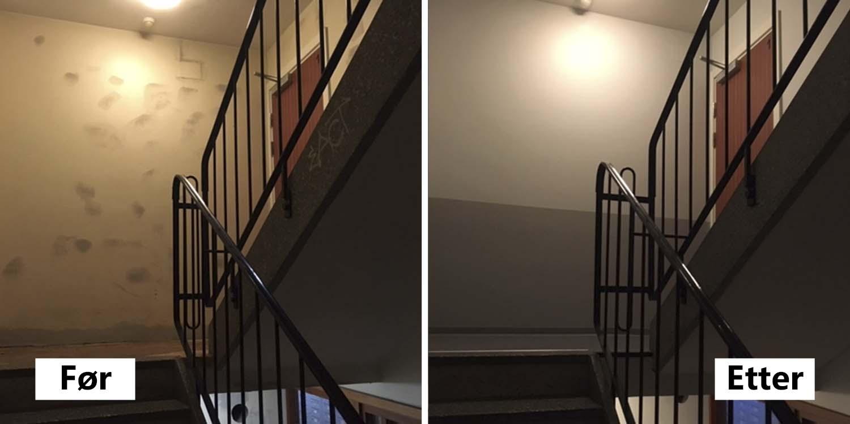 Trappeoppgang vegg og tak, før og etter